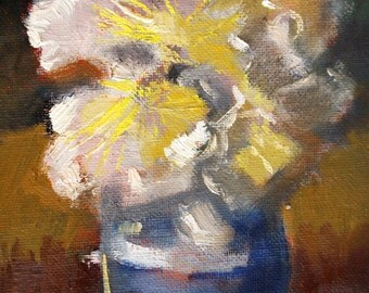 Small Floral Painting, Original 5x7 Oil, Canvas Flower Art, Textured Abstract Blooms, Yellow White, Gray Blue Vase, Brown, Romantic Bouquet