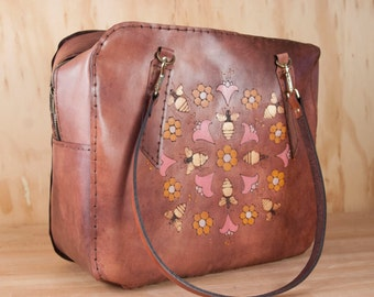 Oversize Leather Purse with Bees - Handmade Stewardess Bag in the Meadow Pattern with Bees and Flowers - Pink, Gold and Mahogany