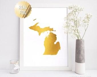 Michigan Wall Art in REAL GOLD FOIL - Michigan Art Print - Gold Foil Print - Michigan Map Poster - Gift for University of Michigan