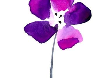 """Watercolor flower art print: """"Purple Passion"""""""