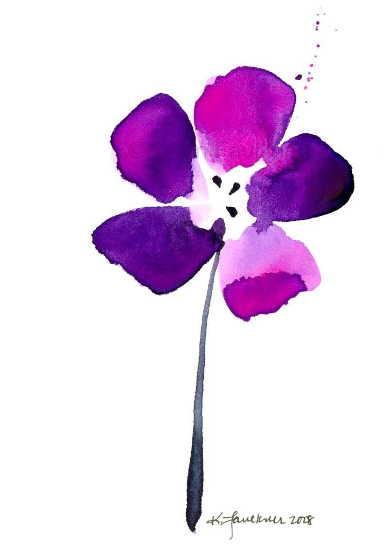 Watercolor Flower Art Print Purple Passion