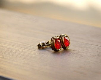 Shimmering Ruby Red Czech Glass Beads Wire Wrapped into Stud Earrings - Antiqued Bronze Wire Studs