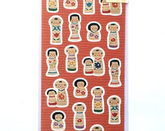 Kokeshi Doll Stickers - Traditional Japanese Doll Stickers - Chiyogami Paper Stickers S175
