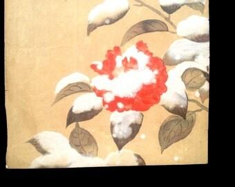 Camellia Flower Print - Vintage Print -  Japanese Magazine Insert in Showa Period