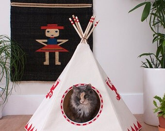 Vermilion Cat Teepee w/ bed, Cat House, Cat Bed, Cat Tipi, Pet Teepee