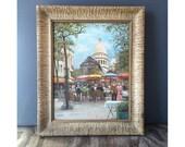 1950s Paris Painting - Framed Painting Sacre Coeur