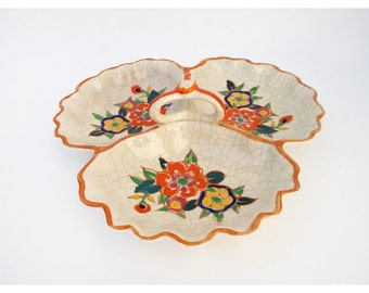 1940s Serving Plate - Orange Floral Serving Plate - Made in Japan