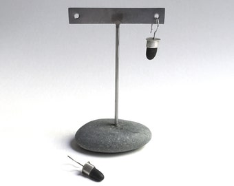 Post or Ear Wire Earring Display T Rack Holder Natural Lake Erie Beach Stone Stainless Steel Rock Jewelry Stand g