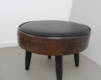 Mid Century Footstool Round Black and Brown Mid Century Modern  Ottoman