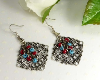 Antique Silver, Turquoise and Red Earrings
