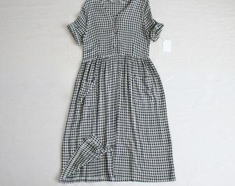 slouchy gingham dress | vintage gingham dress | plaid blue dress