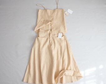 peach linen top & skirt set | vintage two piece outfit