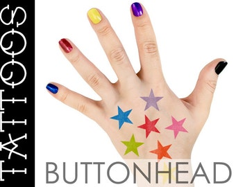 Rainbow Star Temporary Tattoos - Rainbow Halloween Costume Accents - Rainbow Brite Costume Accessories Stars