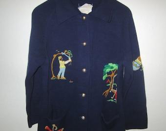 Embroidered Golf Sweater - Women's MEDIUM - Button front Cardigan - Navy w/ Needlepoint Designs - Vintage 70s