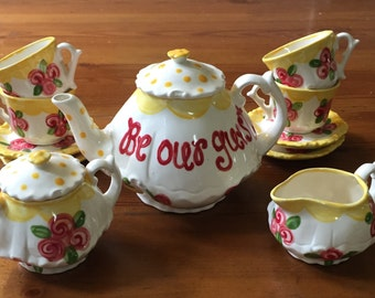 Belle Beauty & the Beast // READY TO SHIP Tea set for Little girls // Be Our Guest Child's sized tea Set, handpainted // princess tea party
