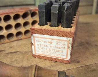 """Vintage Set steel Letter stamps Alphabet Stamp Punch Set leather, metal or wood craft a-z 1/4"""" Millersfalls Co Tooling"""