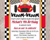 PRINTABLE Race Car Birthday Party Invitation / Choose Your Hair Color / Kids Racing Party / Red, Black and Yellow / You Print