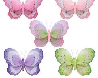 Butterfly Decor - Set of 5 - Hanging Butterflies Girls Room Nursery Birthday Party Baby Shower Ceiling Wall Nylon Decorations Triple Layered
