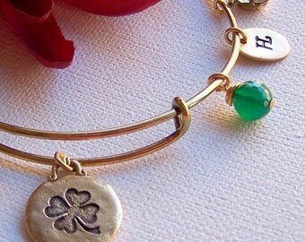 Personalized Bangle Bracelet, Shamrock Bangle,  Expandable Charm Bracelet, Clover Leaf Lucky Charm, Birthstone, Crystal Charm, Gift For Her