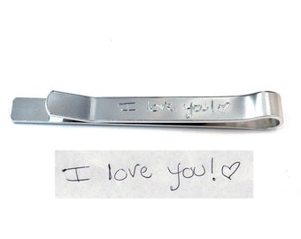 Actual Handwriting Tie Clip, Gift for Him, Personalized Tie Bar, Tie Tack, Engraved Hidden Message Aluminum Tie Clip
