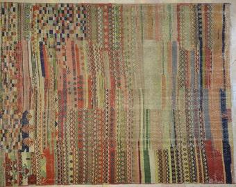 Kilim Rug Overdyed Vintage Multicolor Geometric 7'x9'