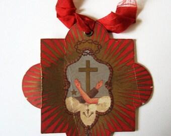 Antique French Paper Image Stigmata 1930s Devotional Scapular