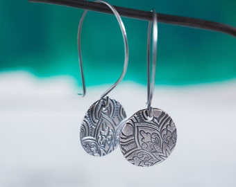 Mandala Earrings {Hand Stamped PMC 960 + Sterling Silver}