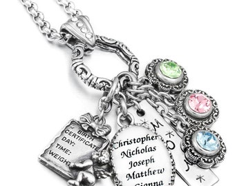 Mothers Necklace, Mom's Birthstone Jewelry, Personalized Mothers Necklace, Grandma Birthstone Necklace, Custom Jewelry Designs