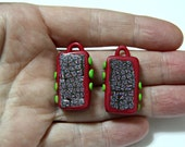 Handmade Polymer Clay Pendant in Hand Cut Square Shapes Red With Lime Green