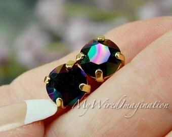 Rainbow Dark, Genuine Swarovski, 39ss/8mm Crystal in Setting, Rhinestone in Sew On Setting, Metallic Finish, Rainbow Dark Xirius Chaton