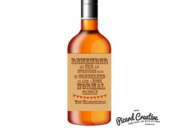 Funny Thanksgiving Wine Labels- 6 Kraft Labels Customized with Family Name- Remember as far as everyone else is concerned- Normal Family