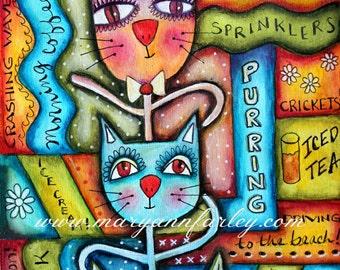 Art Print, Cat Art, Cat Artwork, Three Kittens, Wall Art Print, Summer Art, Whimsical Art, 8 x 10, 5 x 7, Mixed Media, Multicolor