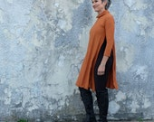 STRETCH Turtleneck Vented Wanderer Short Dress (Med hemp/organic cotton STRETCH knit)