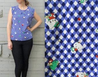 1980s KAWAII sleeveless blouse // Hello Kitty Knock Off // Women's Large Blouse // Cute Anime Design