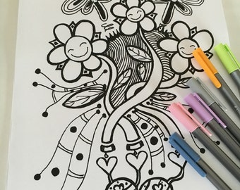 PDF download - Flowers and Dragonflies A4 Colouring Doodle