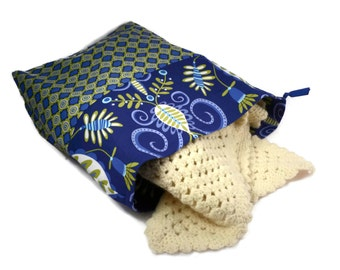Knitting Project Bag, Blue Knitting Bag, Large Knitting Bag, Crochet Bag