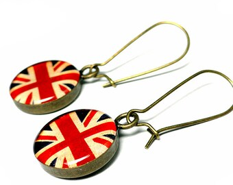 English Flag Jewelry, English Flag Earrings, Union Jack, UK Flag, England, Resin Earrings, Dangle Earrings, Handmade Earrings, Resin Jewelry