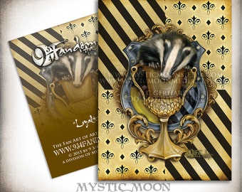 Loyalty... ACEO / ATC...Hufflepuff Inspired Collectors Card.. Inspired by Harry Potter Hogwarts House