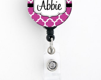 Retractable Badge Reel - Pink or Red Moroccan - Personalized Name Badge Holder, Carabiner, Lanyard or Steth Tag