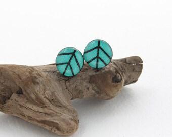 Seafoam Green Stud Earrings, Leaf Stud Earrings, Everyday Simple Earrings, Hypoallergenic Stud Earrings, Wood Burned Jewelry, Unisex Studs