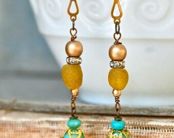 Long bohemian beaded teardrop earrings/boho jewelry. tiedupmemories