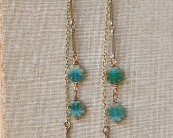 Long teal bohemian chain dangle boho chic earrings. Tiedupmemories