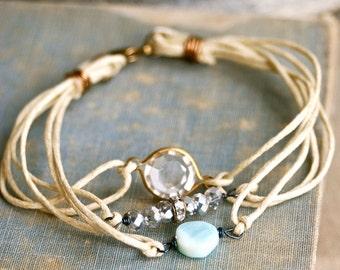 Bohemian string bracelet. peruvian opal,crystal,beaded,stackable bracelet.Tiedupmemories