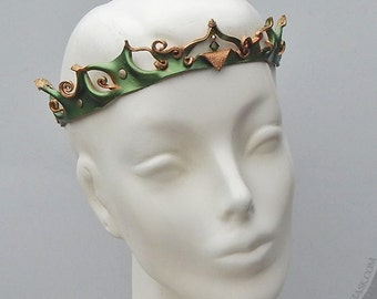 Princess Crown in Shimmering Olive Green and Bronze - Sculpted Leather Filigree Circlet - Halloween Costume Accessory, Ren Faire, Cosplay