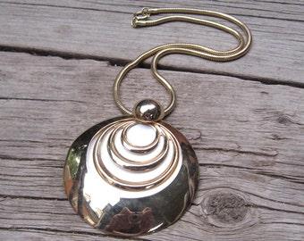 70s Necklace Mod Choker Necklace Round Enamel Necklace Gold Necklace
