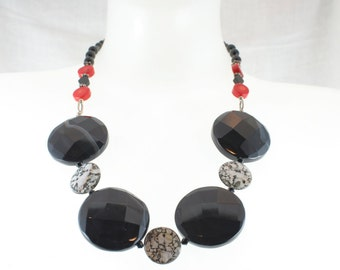 Necklace of Black Lace Agate, Shell, Coral, Onyx, and Sterling Silver