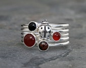 Ladybug Stacking Rings, Sterling Silver, Lucky Love Bug, Carnelian, Black Onyx, Mahogany Obsidian Cabochons, Stackable Gemstone Curiosities