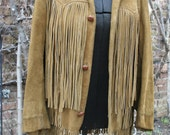 Reserved for Valesca SALE was 125.00 Vintage Pioneer Wear Fringed suede jacket Albuquerque New Mexico size 36 tan