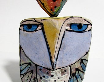 "Owl art, ceramic owl sculpture, whimsical, colorful owl figurine, ""Owl Person Dreaming Love"",5-1/4"" tall, signed handmade owl art"