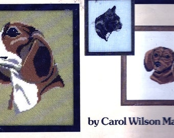 Dogs Cats needlepoint pattern booklet 70s Leisure Arts magazine Leaflet 148 Charted cross stitch Pets Beagle Poodle Tabby More